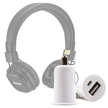 DURAGADGET Cargador Mechero del Coche con Puerto USB para Auriculares Marshall Major II inalámbricos: Amazon.es: Electrónica