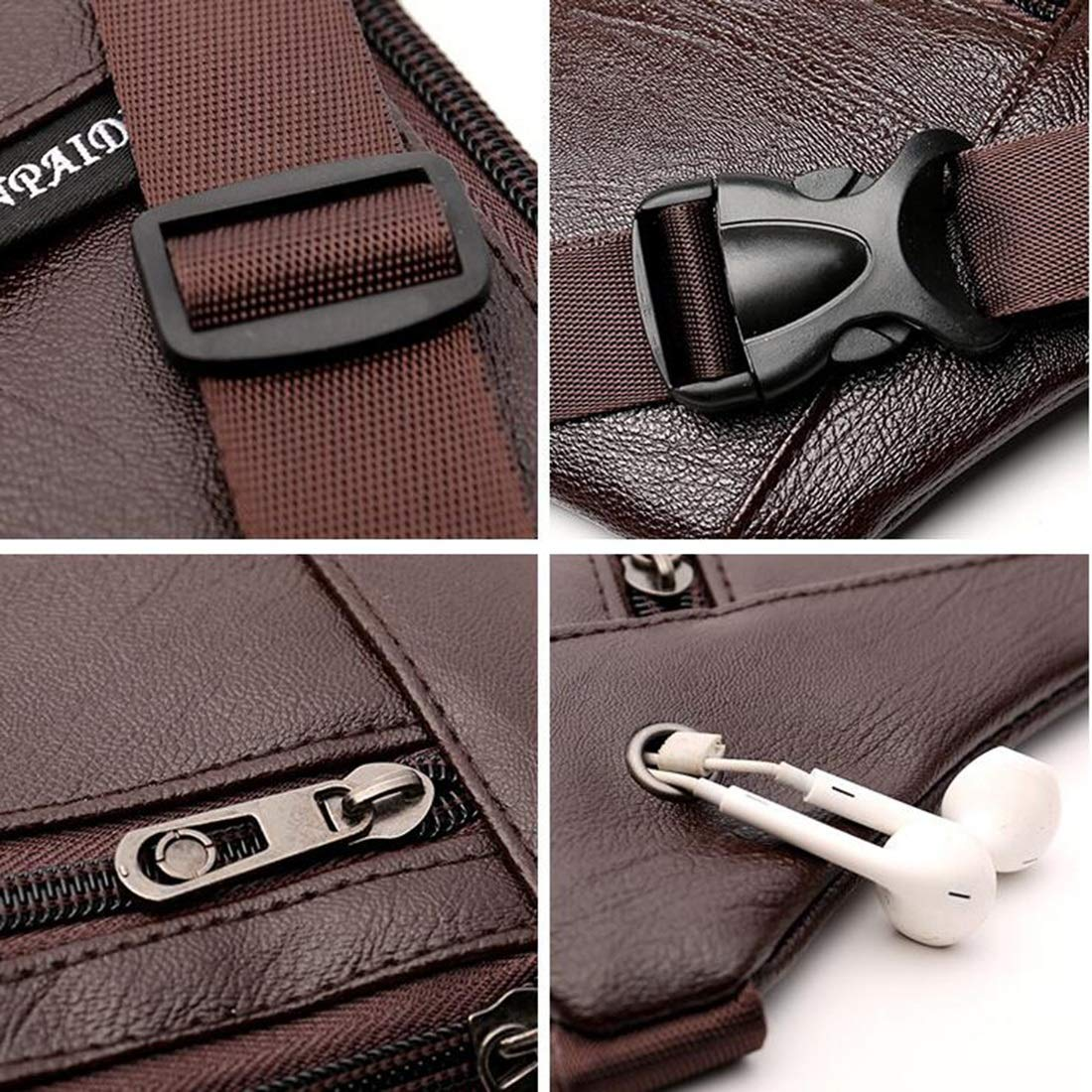 Color : Brown RABILTY Waist Bag West Pouch Pocket Many Mens PU Leather 2WAY Body Bag for Thin Male Men