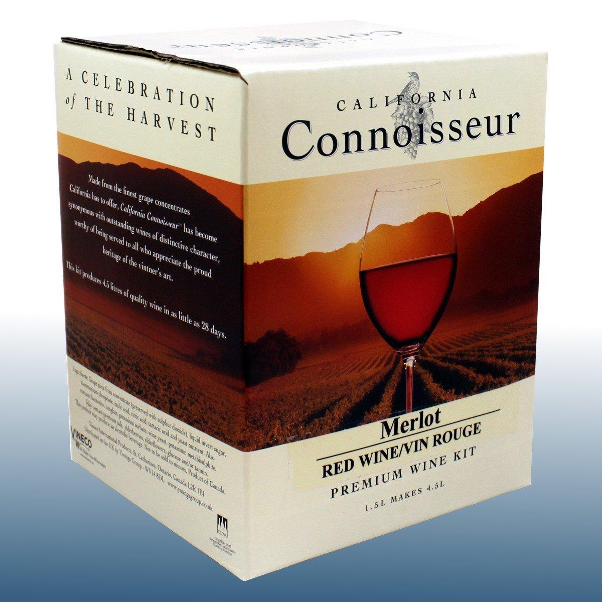 Home Brew & Wine Making - Red Wine Ingredient Kit - California Connoisseur - Merlot 6 Bottle Balliihoo Homebrew