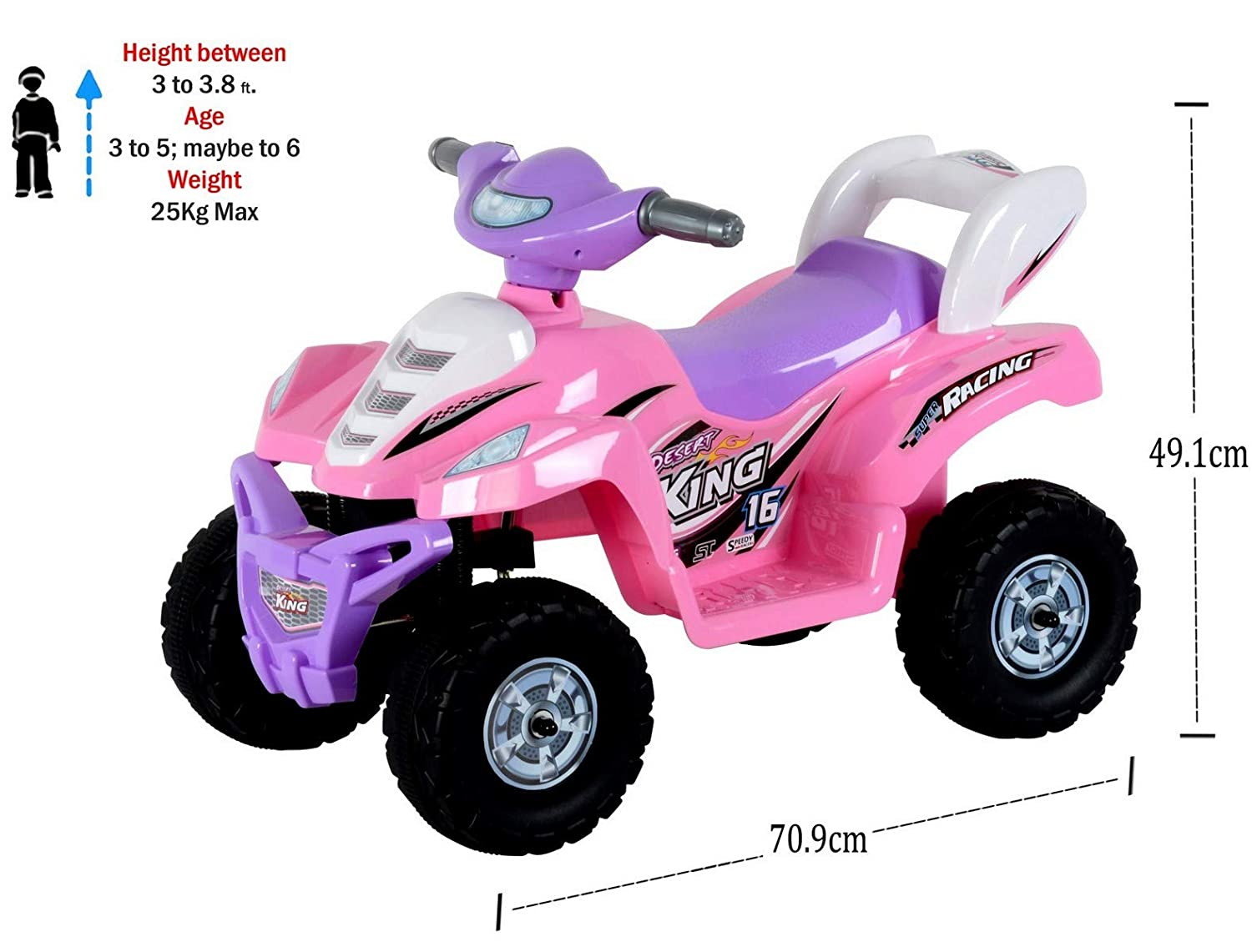 2574603bf7f Buy Toy House Desert King Small ATV Bike 6V Rechargeable Battery Operated  Ride On for kids( 2to 4), Pink Online at Low Prices in India - Amazon.in