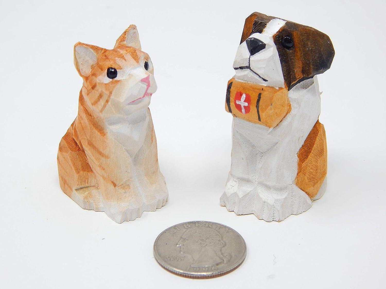 Amazoncom Cat Dog Miniature Figurines Tabby St Bernard Small