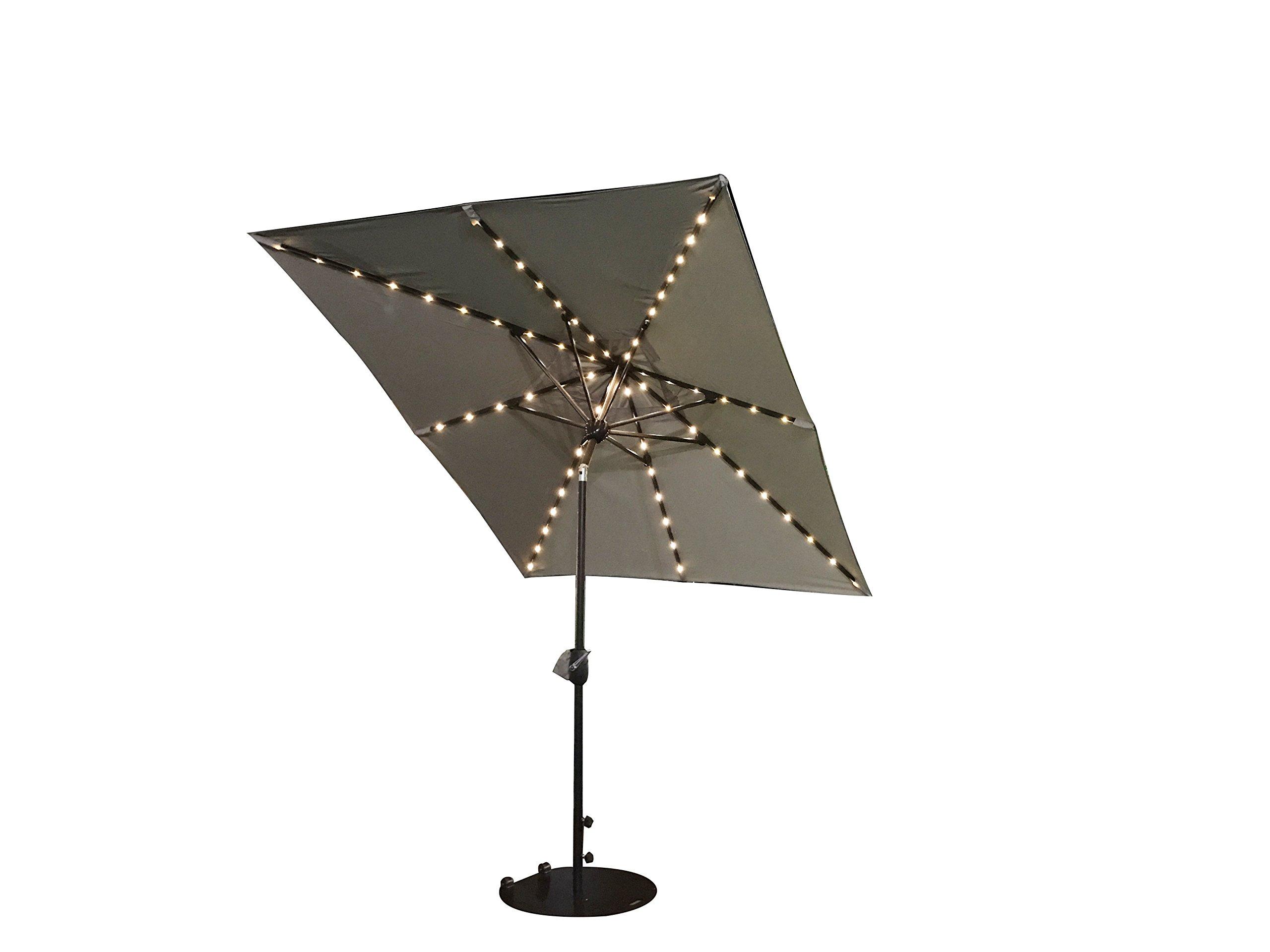 SORARA Patio Umbrella with Solar Powered Rectangular Table Umbrella with Solar Powered 68 LED Lights with Tilt&Crank&Umbrella Cover, 7 by 9 Feet, Beige