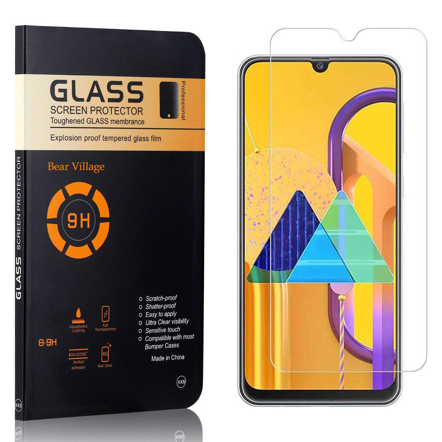Screen Protector for Galaxy M30S Bear Village HD Tempered Glass Screen Protector 3 Pack Bubble Free Anti Scratch Screen Protector Film for Samsung Galaxy M30S