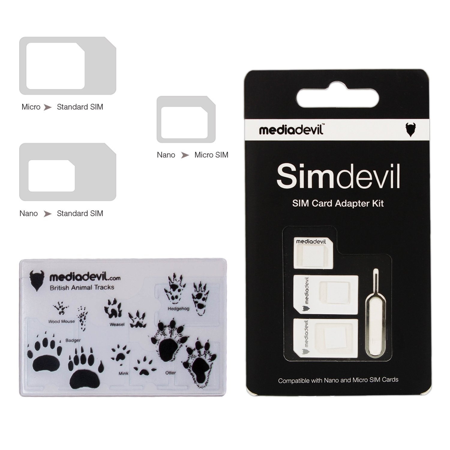 Mediadevil Simdevil 3 In 1 Sim Card Adapter Kit Nano Noosy Original Micro Standard Cell Phones Accessories