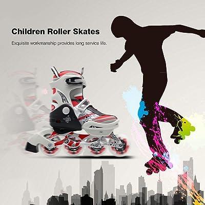 Chaussures de patinage pour enfants unisexes Chaussures de patins à roulettes réglables à une rangée (Couleur: rouge) (Taille: 32-35)