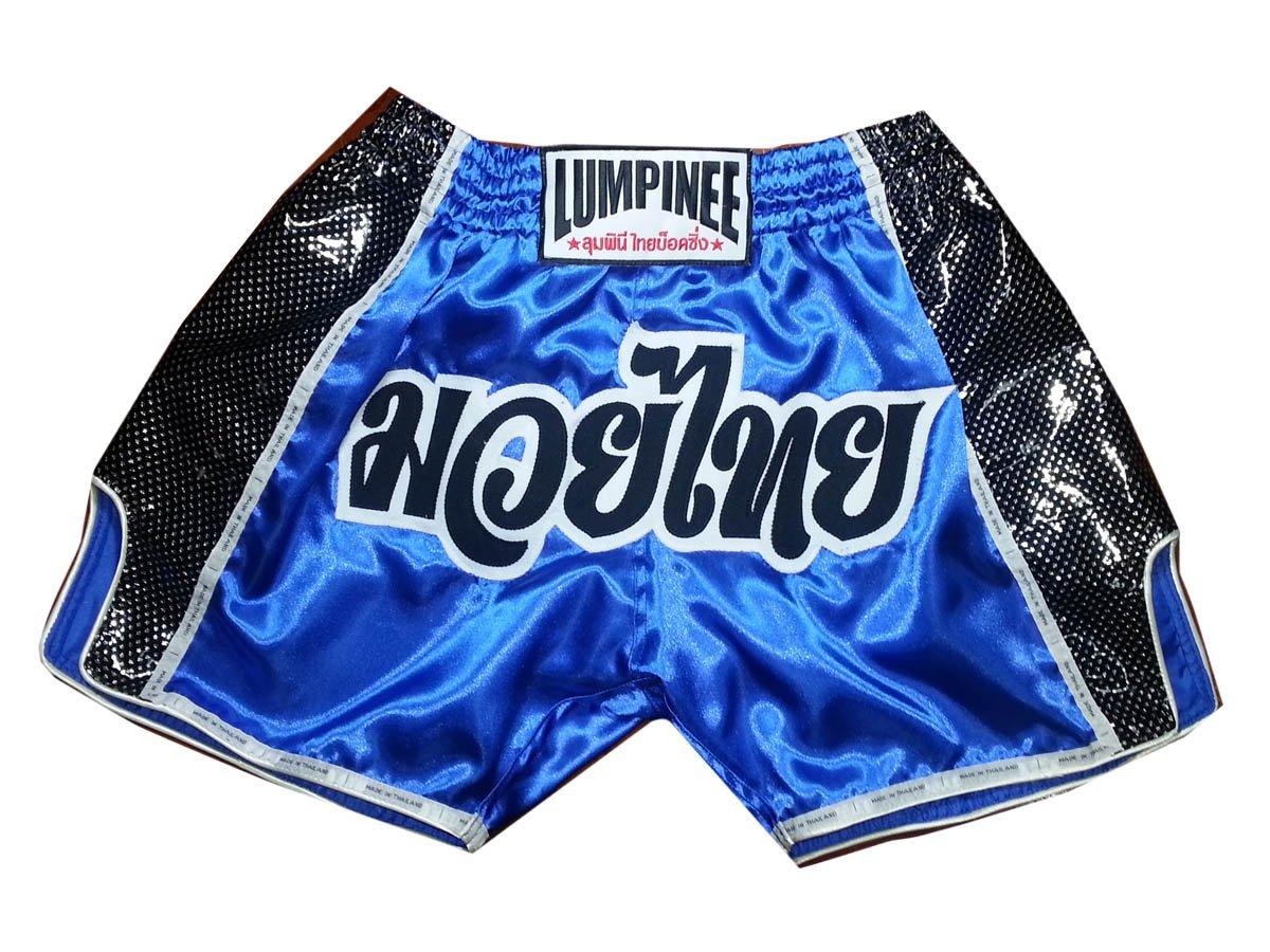Lumpinee Muay Thai Kick Boxing Shorts : LUMRTO-002 Blue Retro