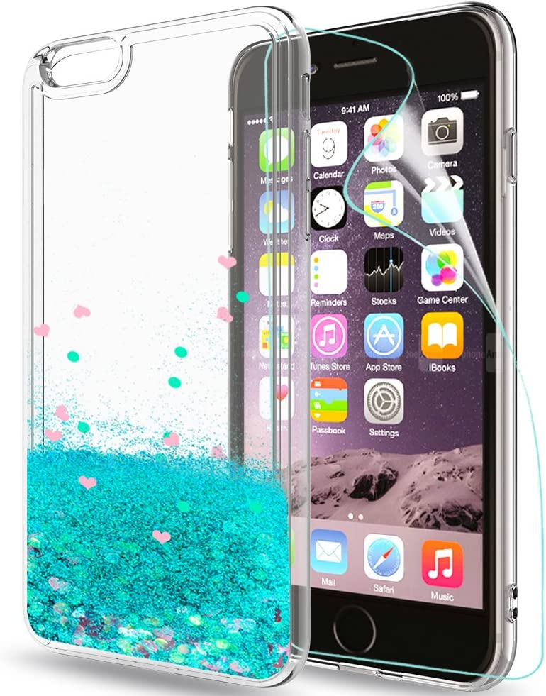 iPhone 6 Case,iPhone 6S Coque Etui Glitter Case with HD Screen Protector for Girl Women,LeYi Cute Moving Quicksand Liquid Clear TPU Protective Phone ...