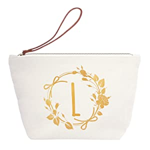 ElegantPark L Initial Monogram Personalized Travel Makeup Cosmetic Bag Wristlet Pouch Gifts with Zipper Canvas