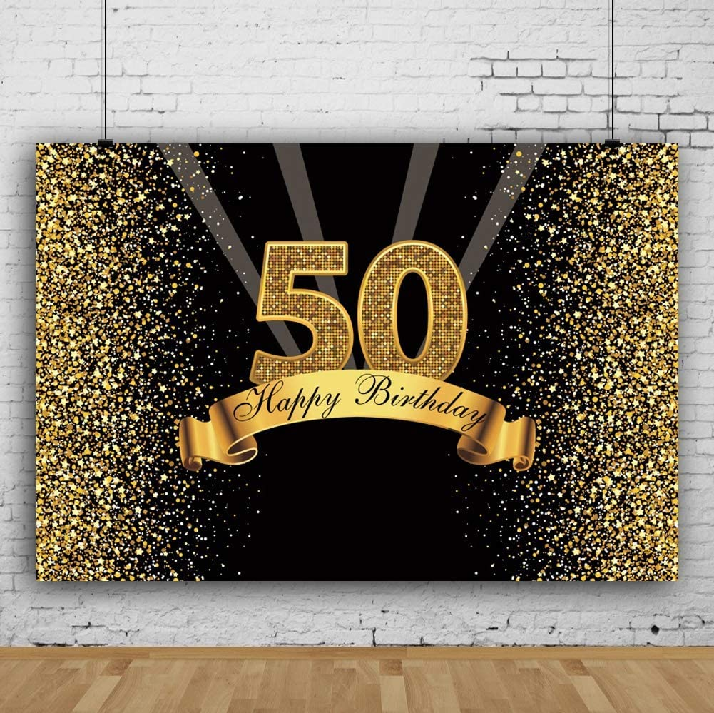 GoEoo 10x8ft Happy Birthday Backdrop Vinyl Glitter Gold and Black Photo Studio Booth Background Adult Happy 50th Birthday Party Decorations Banner Backdrops for Photography