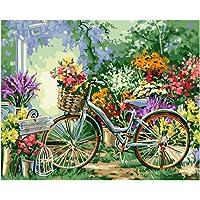 WSCZD Sin Marco Flor de la Bicicleta DIY Pintura by Number Modern Wall Art Imagen caligrafía Pintura para la decoración del hogar 40x50 cm Artes