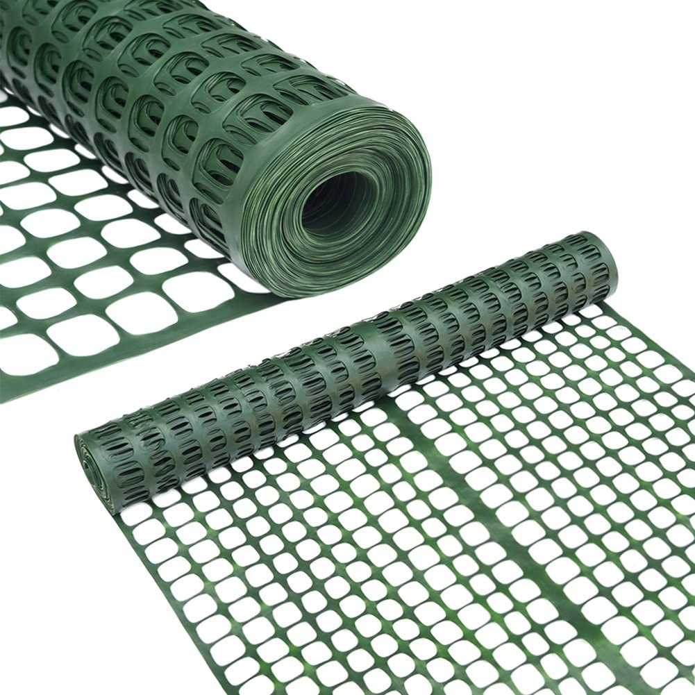 Abba Patio Safety Fence, Plastic Barrier Snow Fencing for Garden Protection, 4 x 100' Feet, Dark Green