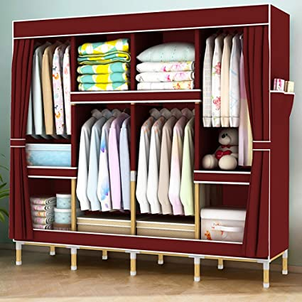 HHAiNi Portable Wooden Wardrobe Closets For Bedroom, Super Large Family  Sold Wood Closet Organization,