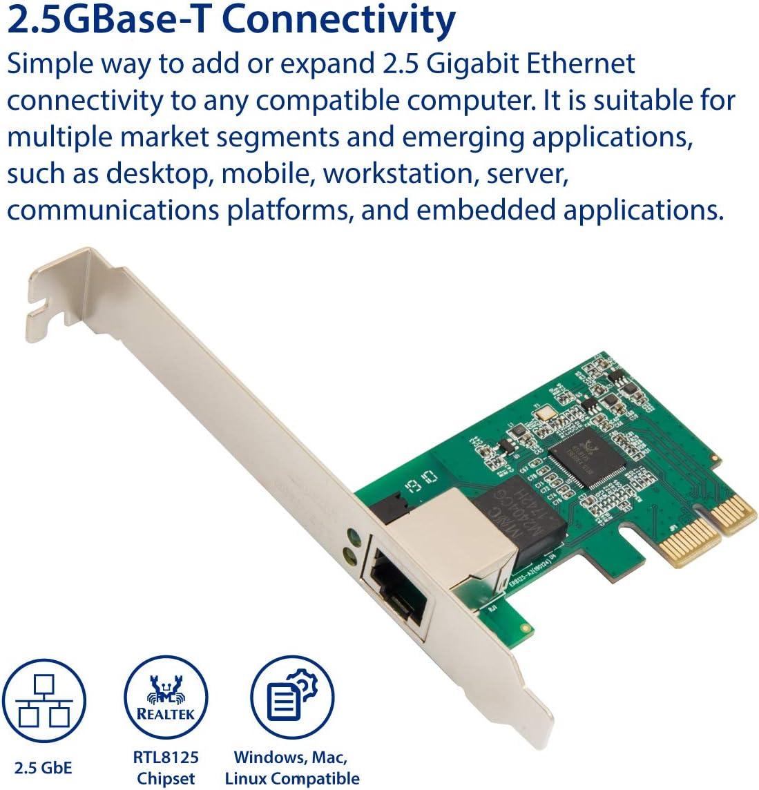 SYBA 10//100//1000//25000 Mbps Adaptador de Red Gigabit Ethernet PCI Express PCI-E para PC de sobremesa