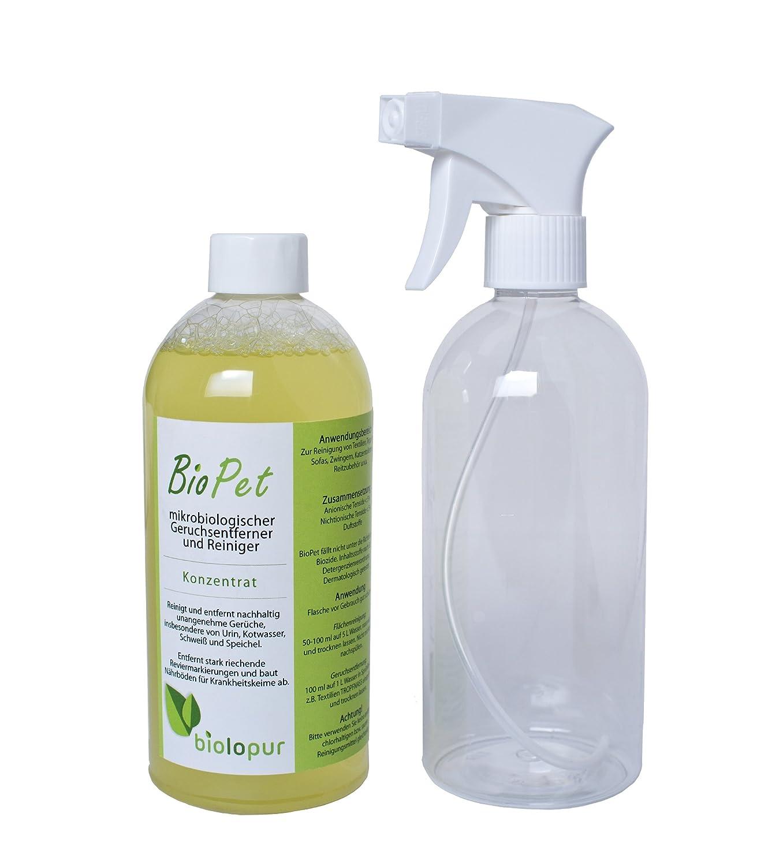 Biopet biol opur Désodorisant–Désodorisant–Spray–Nettoyant Urine, Animal de Compagnie.–500ML concentré = 5l de Solution Biolopur artnr 16009