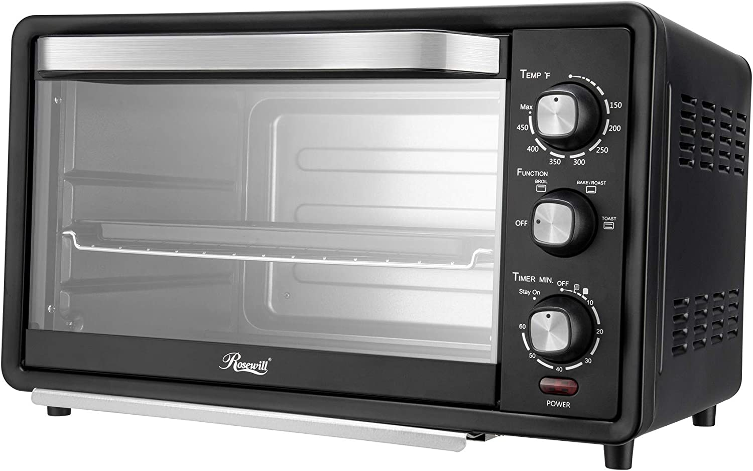 Stainless Steel Countertop Toaster Oven Rosewill RHTO-19001 6-Slice Convection Toaster Oven with Timer /& Temperature Settings Broil Rack 19-Liter Large Capacity Fits 12-Inch Pizza Baking Pan