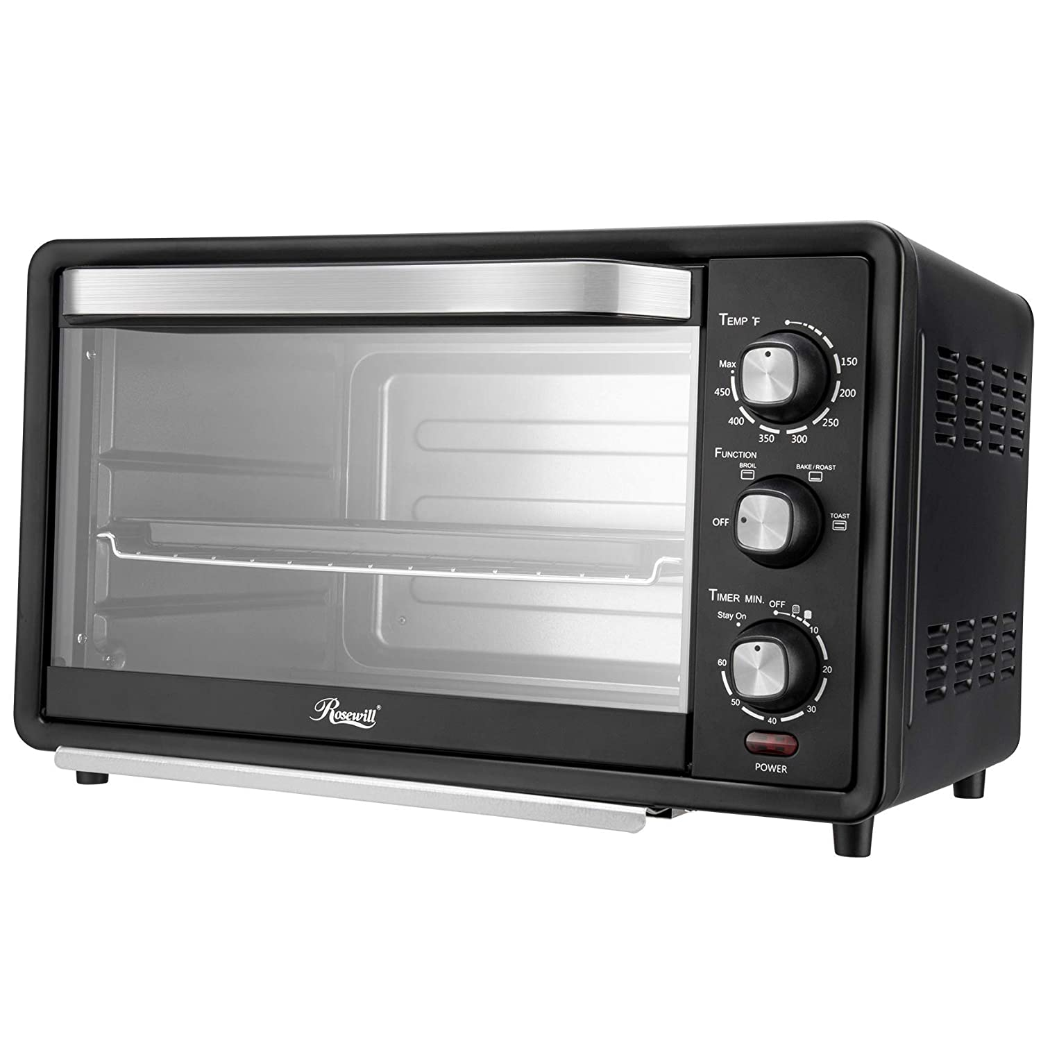 Rosewill RHTO-19001 6-Slice Convection Toaster Oven with Timer & Temperature Settings, 19-Liter Large Capacity Fits 12-Inch Pizza, Stainless Steel Countertop Toaster Oven, Baking Pan, Broil Rack