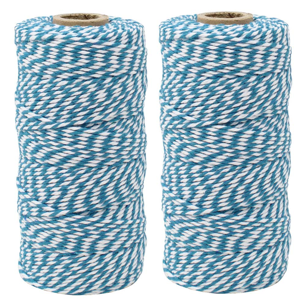 Just Artifacts ECO Bakers Twine 110yd 12Ply Striped Teal (2-Pack) - Decorative Bakers Twine for DIY Crafts and Gift Wrapping by Just Artifacts