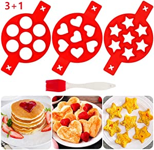 Pancake Mold Maker Fried Non-Stick Egg Mold Reusable Silicone Pancake 7 Cavity Egg Ring 3 Pack and Silicone Brush (Heart Round Star)