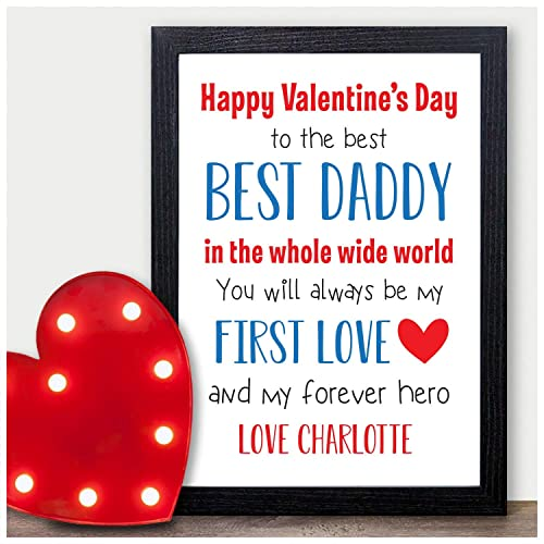 Happy Valentines Day Personalised Gifts for Daddy - Unique Custom Valentines Presents from New Baby Boy or Girl, Son or Daughter for Daddy, Dad, ...