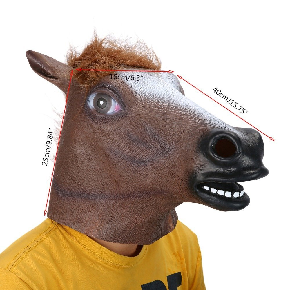 Autumn Water Full Head Mask Horse Head Mask Creepy Fur Mane Latex Realistic Crazy Rubber Super Creepy Party Halloween Costume Animal Mask by Autumn Water (Image #1)