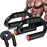 AIR-ONE SPORTS   Push Up Bars with Jump Rope (XL, 600lb) Extra Thick Non Slip Foam Grip, Unique Sturdy Structure, Perfect Str