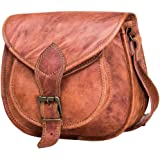 Handmade Soft Leather Cross Body Sling Satchel Bag for Women Or Girl Tan Brown Beige Color Purse for College Office Camping Business Travel No Faux Or PU Leather No Foul Smell Small Size 10 inch