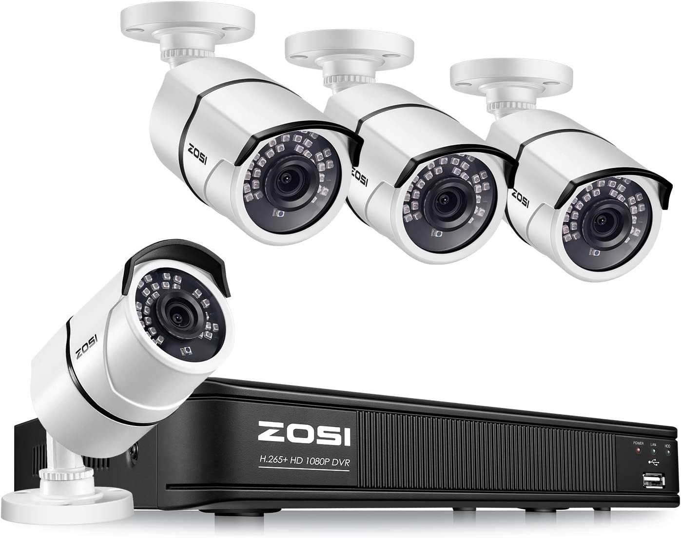 ZOSI H.265+1080P FHD Video Security Camera System,8 Channel CCTV DVR Recorder and 4 x 2.0MP 1080p Weatherproof Surveillance Cameras Outdoor Indoor, 120ft Night Vision, Remote Access (No HDD)