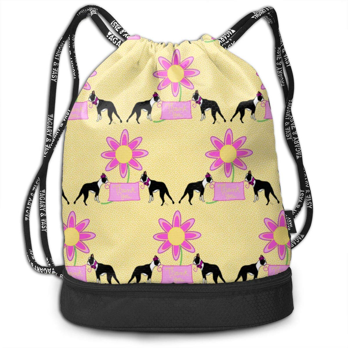 A Boston Terrier Thank You Drawstring Backpack Sports Athletic Gym Cinch Sack String Storage Bags for Hiking Travel Beach
