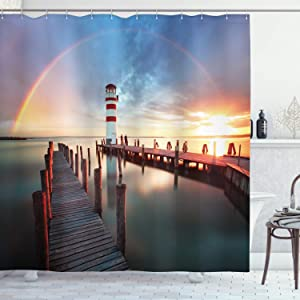 Ambesonne Lighthouse Shower Curtain, Sunset at Seaside Wooden Docks Lighthouse Clouds Rainbow Waterfront Reflection, Cloth Fabric Bathroom Decor Set with Hooks, 70