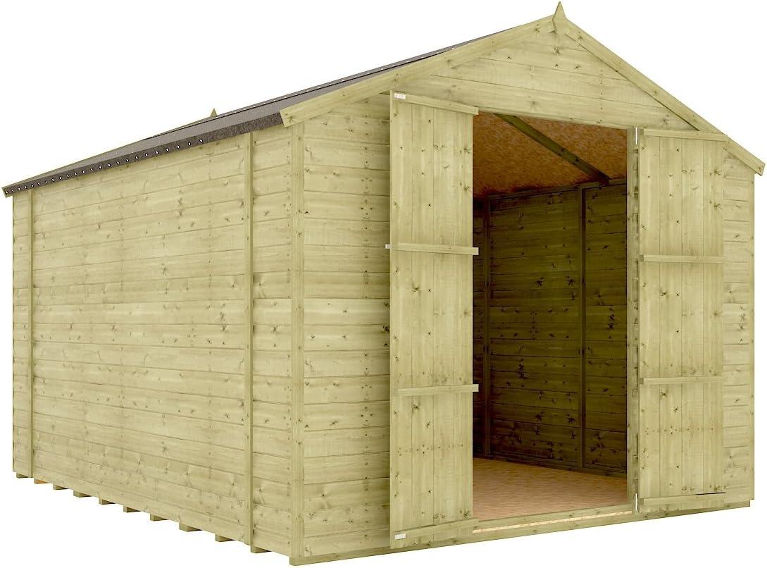 Lengüeta de madera tratada a presión para cobertizo de jardín, 10 x 8 cm, sin ventana, con puertas dobles de 12 mm: Amazon.es: Jardín