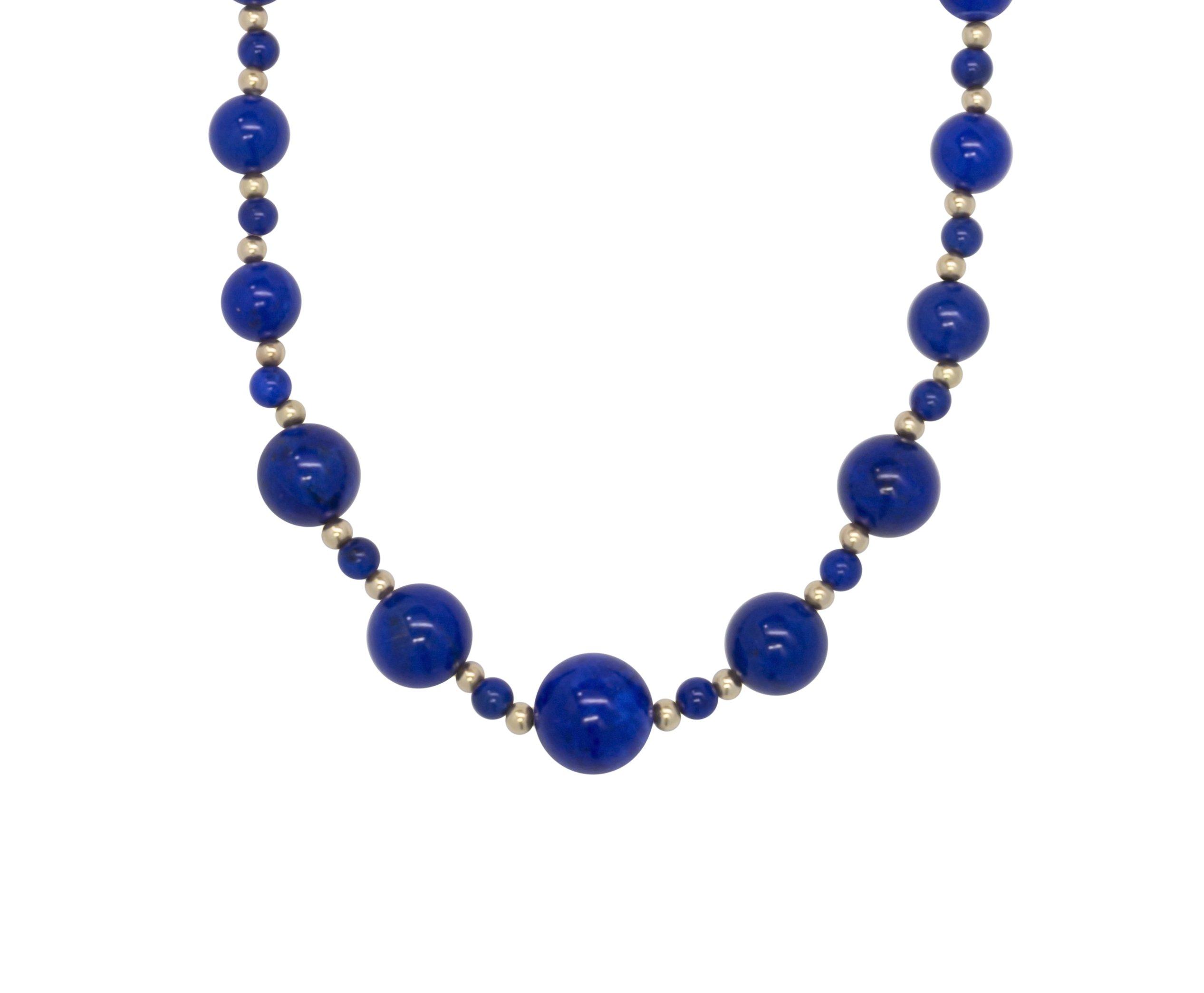ISAAC WESTMAN 14K Yellow Gold Graduated Lapis Lazuli Gemstone Beaded Necklace | 20'' Matinee Length by ISAAC WESTMAN (Image #1)