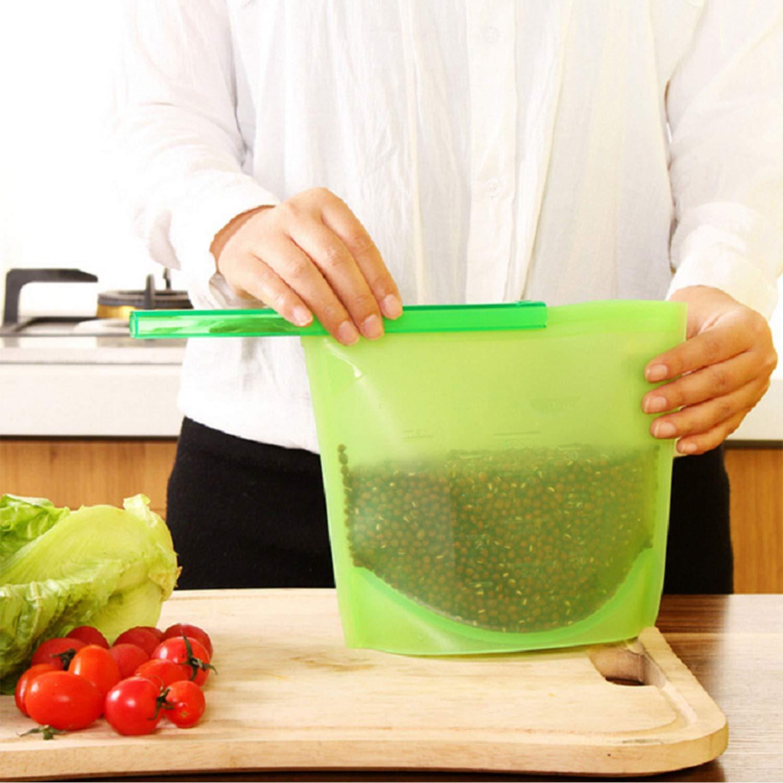 5 Bolsas de Silicona para Alimentos para Frutas Verduras Reutilizables Sopa Cocina herm/éticas para congelar Leche Xibin
