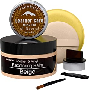 NADAMOO Peach Beige Leather Recoloring Balm with Mink Oil Leather Conditioner, Leather Repair Kits for Couches, Restoration Cream Scratch Repair Leather Dye For Vinyl Furniture Car Seat, Sofa, Shoes