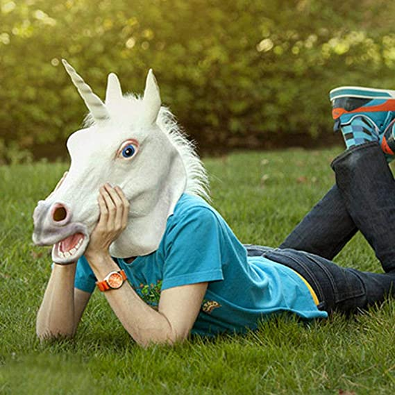 SeniorMar Funny Creative Halloween White Unicorn Horse Head Mask Latex para un Loco Cosplay Party Costume Dress Mask: Amazon.es: Juguetes y juegos