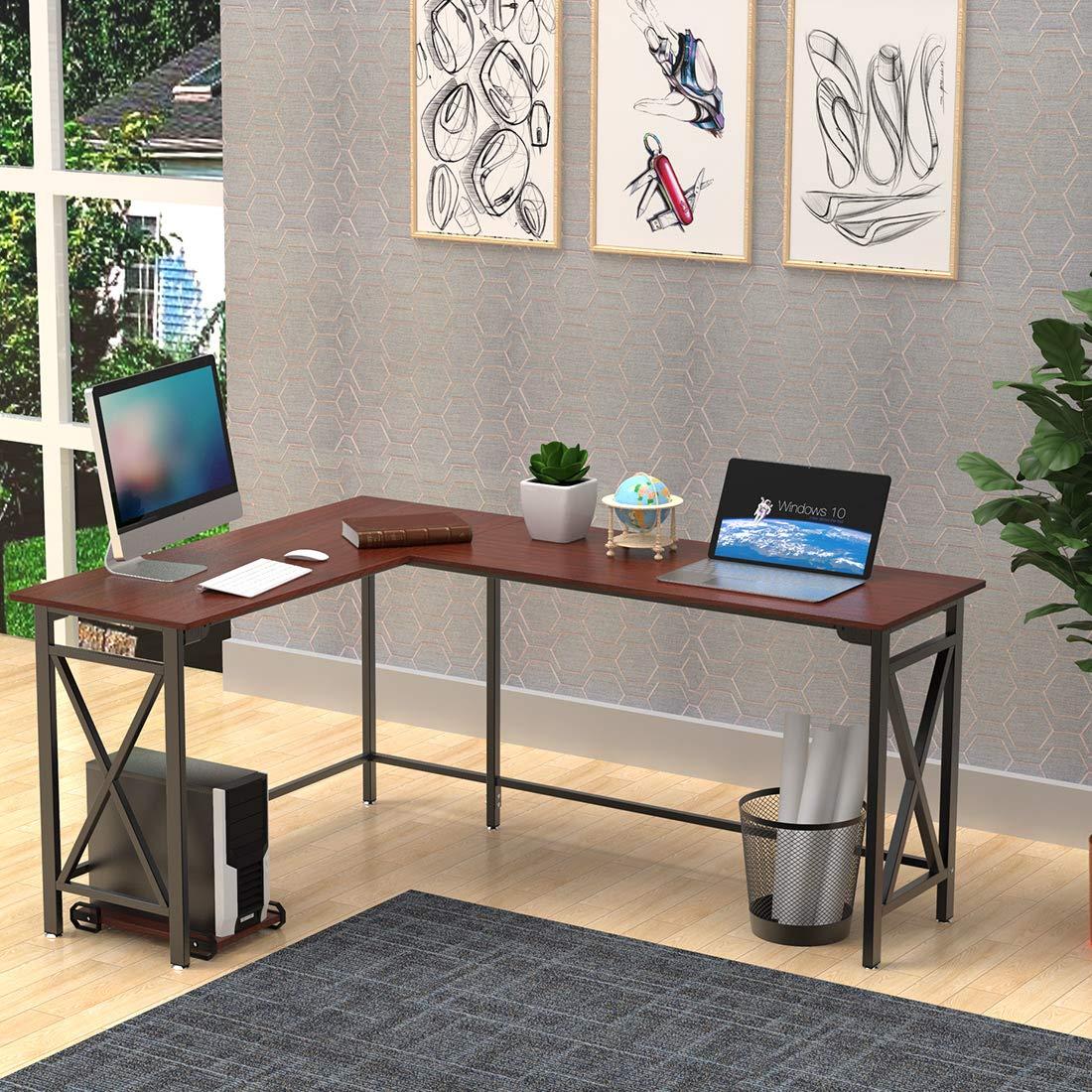 L Shaped Computer Desk 67 X 51 Walnut Corner Computer Desks 2 Piece Corner Laptop Table Home Office Desk Desktop Computer Desks Workstation Desk