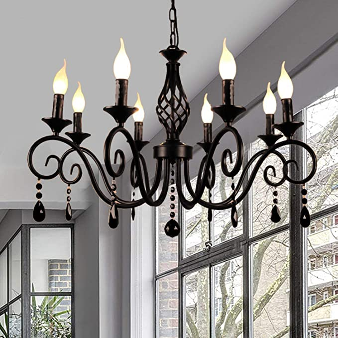 Ganeed Rustic French Country Chandelier,6 Lights Farmhouse Candle Iron Chandeliers,Vintage Metal Pendant Light Fixture for Kitchen Island,Dining