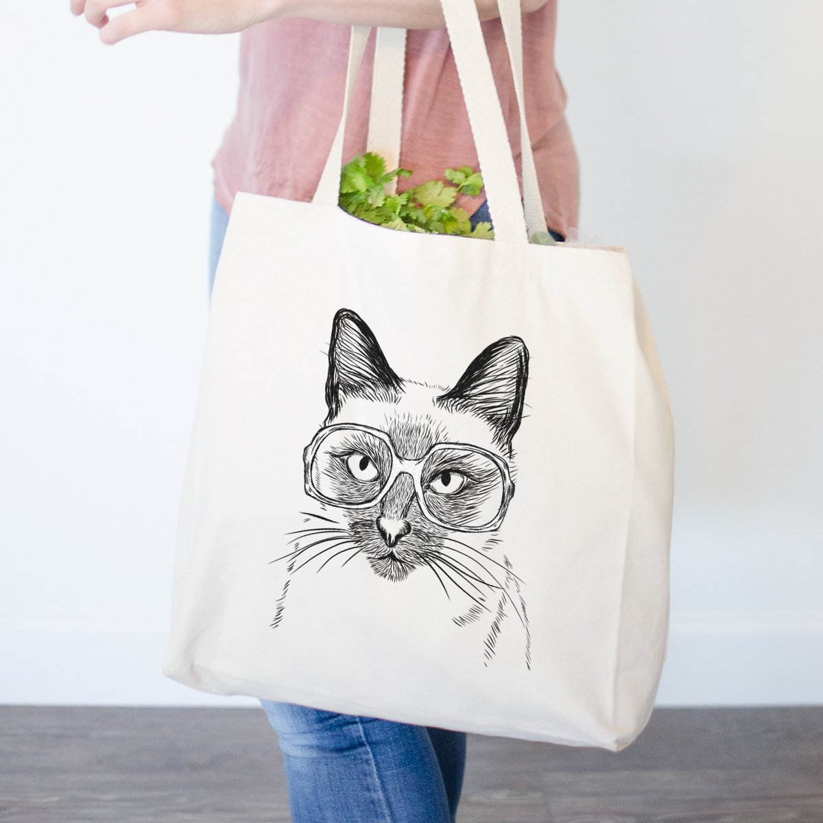 Sasha The Siamese Cat Heavy Duty 100 %コットンキャンバストートバッグショッピングReusable Grocery Bag 14.75インチx 14.75 X 5 Printed 1 Side ベージュ TOTE-sasha-siamese-1-side B0793GZV5X  Printed 1 Side