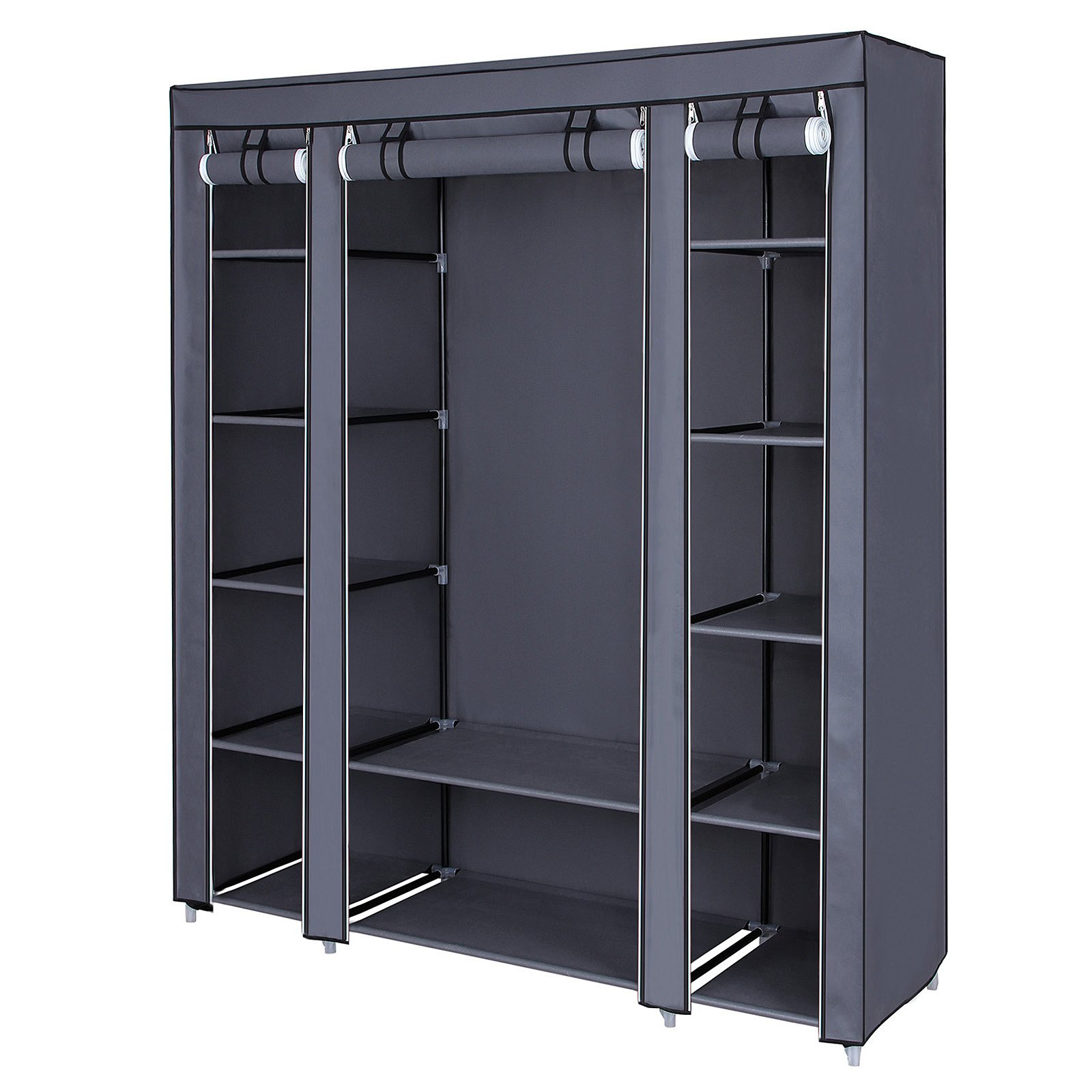 SONGMICS 59'' Closet Organizer Wardrobe Closet Portable Closet Shelves, Closet Storage Organizer with Non-Woven Fabric, Quick and Easy to Assemble, Extra Strong and Durable, Gray ULSF03G