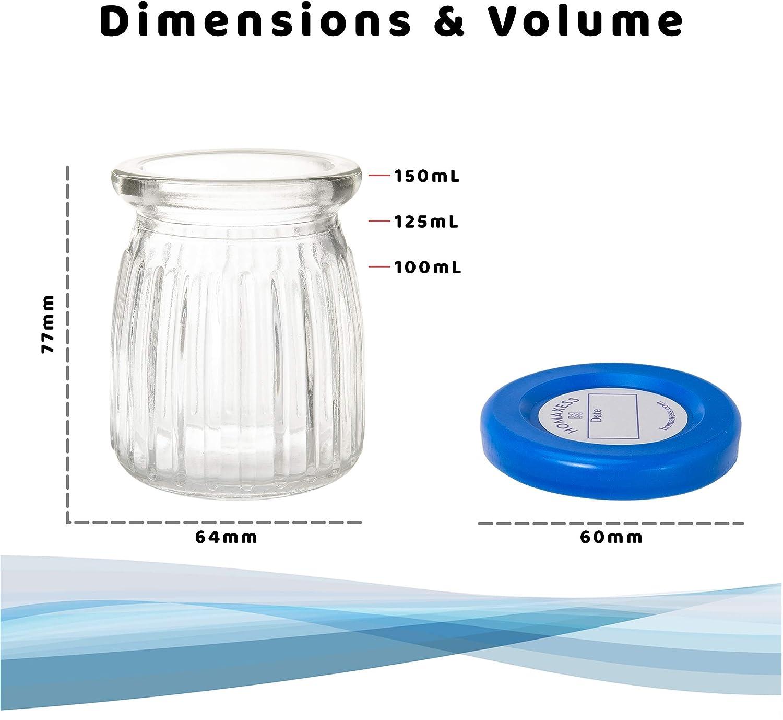 Paquete sin pl/ástico Capacidad 150 ml Tapa de Dater 6 tarros de yogur de cristal Compatible con cualquier yogurtera Homaxess BPA libre