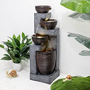 SunJet Indoor/Outdoor Cascading Water Fountain - 40.1inches Garden Fountain with Warm Lights, 4 Bowls Fountain Waterfall Feature for Home Deck, Patio, Porch, Yard Decor