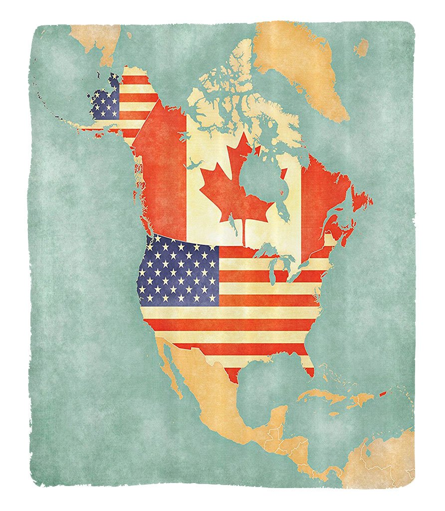 Chaoran 1 Fleece Blanket on Amazon Super Silky Soft All Season Super Plush Werlust Decor Collectiontates Canada Outline Map of the North America in Grungetylizedoft Colors Fabric et by chaoran