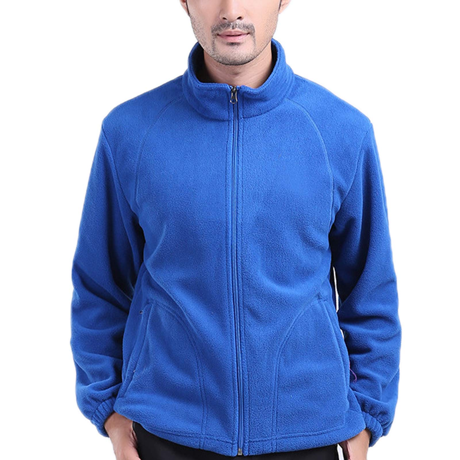 Elonglin Mens Fleece Jacket Full Zip Stand Collar Sportwear Top Outwear Blue Bust 50.7''(Asie 3XL) by Elonglin