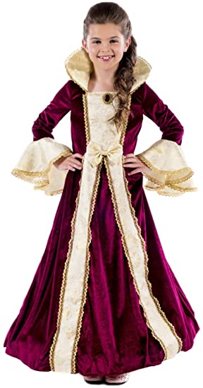 Kids Girls Regal Princess Tudor Queen Medieval Fancy Dress Costume Book Week New
