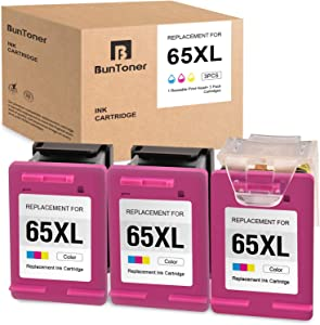 BUNTONER Remanufactured Ink Cartridges Replacement for HP 65 65XL 65 XL use with HP DeskJet 3755 2655 3752 2655 2652 2622 Envy 5055 5030 5020 5010 (3 Tri-Color Cartridges, 1 Print Head)