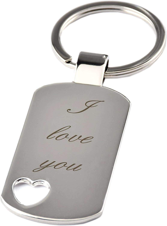 Porte-cl/és avec d/écoupe c/œur et gravure /« I love you /» Chrome amie proches Cadeau de No/ël pour ami