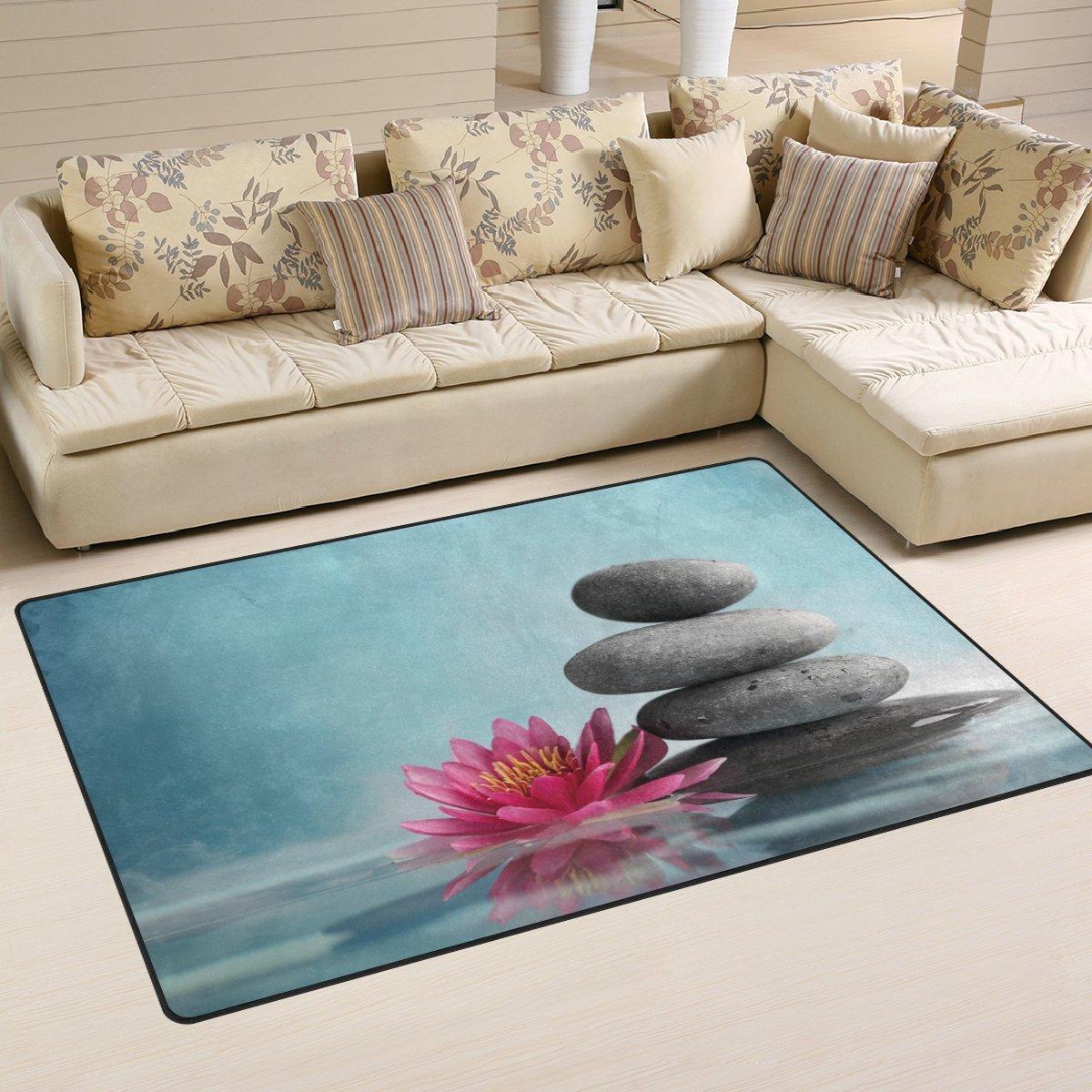 WellLee Area Rug,Spa Life Water Lily Zen Floor Rug Non-slip Doormat for Living Dining Dorm Room Bedroom Decor 60x39 Inch