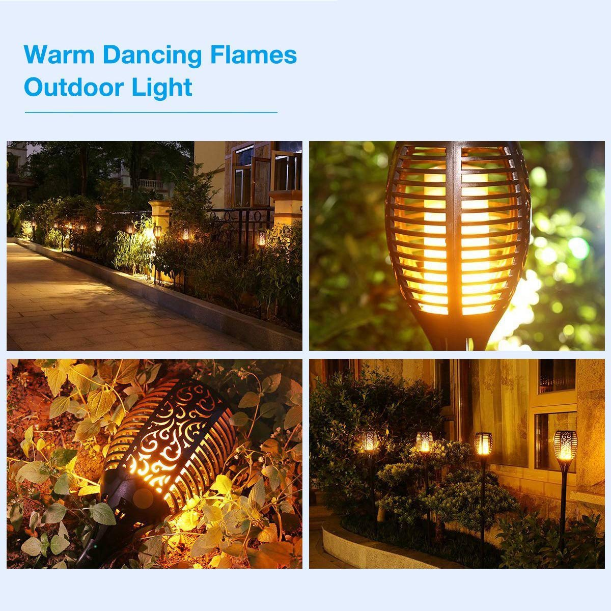 Xtozon Solar Torch Lights Upgraded, Dancing Flames Torch Solar Lamp, 96 LED Flame Effect Saving Lamp, Waterproof Outdoor Pathway Decoration Solar Security Light Auto On/Off from Dusk to Dawn - 4 pack by Xtozon (Image #5)