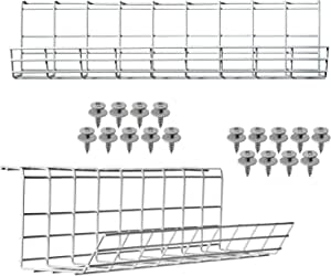 Under Desk Cable Management Tray - Cable Organizer for Wire Management. Metal Wire Cable Tray for Office and Home. Perfect Standing Desk Cable Management Basket (White Cord Basket Set of 2x 17'')