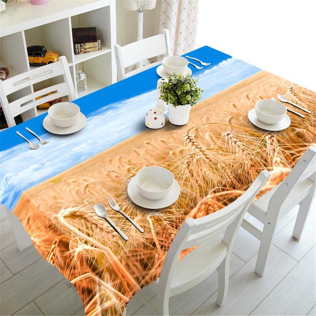 servicio honesto N N N Dbtxwd Mantel 3D Campo de trigo Impresión Rectangular A prueba de polvo Insípido ambiental Fiesta Cena Decorativo Cubierta de la mesa Lavable , n  marcas de moda
