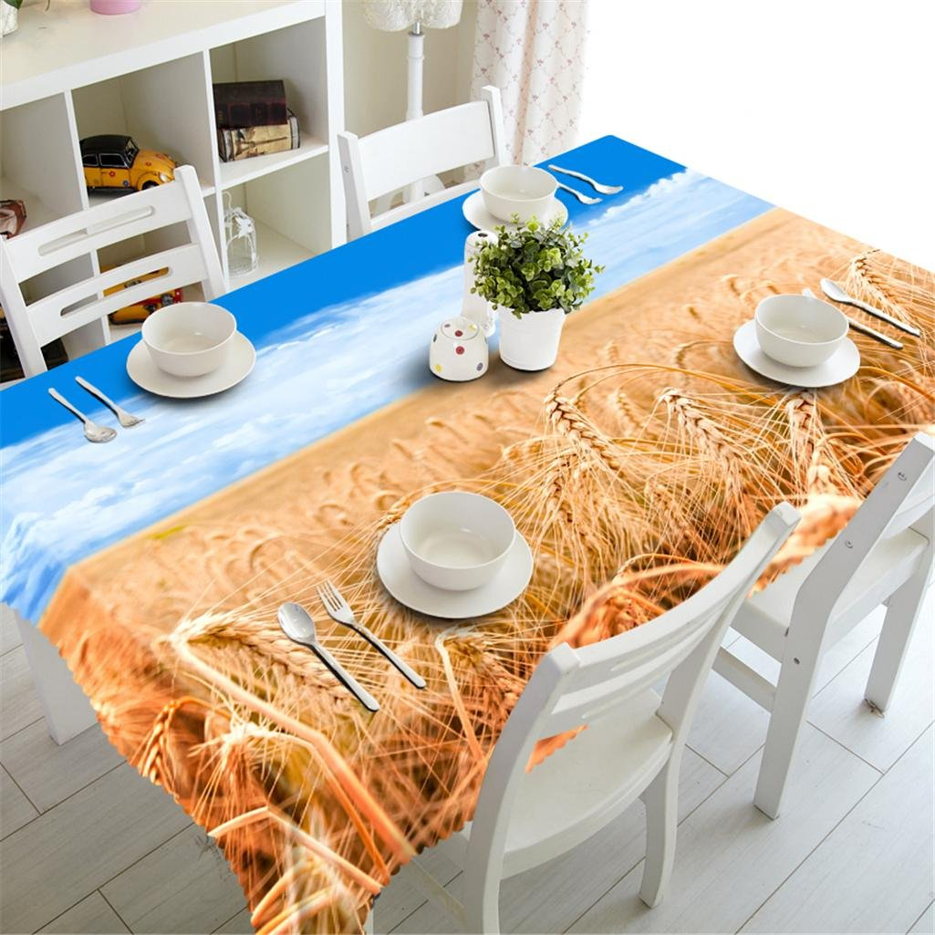 Dbtxwd Tablecloth 3D Wheat field Printing Rectangular Dust-proof Environmental tasteless Party Dinner Decorative Table Top Cover Washable , o